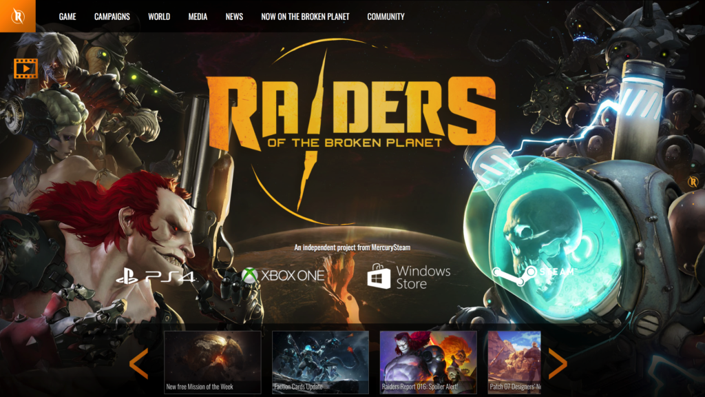 Captura de pantalla de la Home web Raiders of the Broken Planet