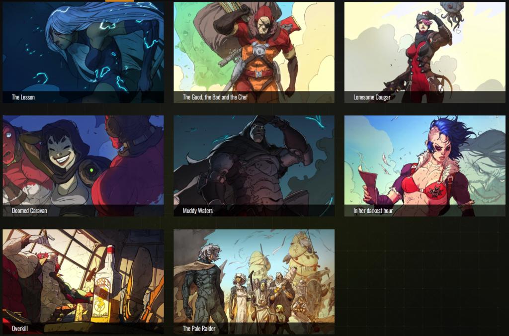Captura de pantalla listado de cómics web Raiders of the Broken Planet