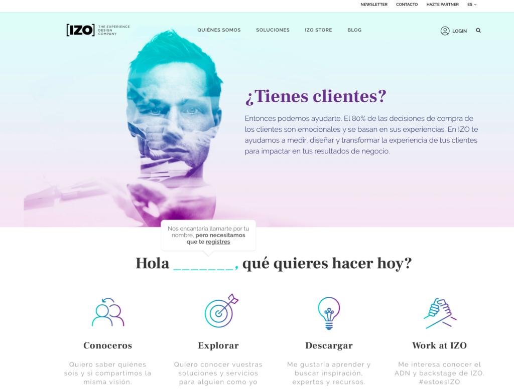 Captura de pantalla Web IZO de The Online Marketing Studio