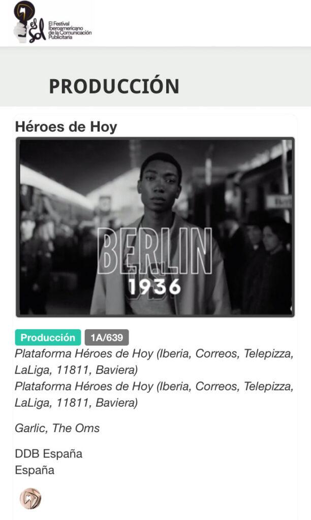 Captura de pantalla de web El Sol del Premio Sol a la producción de Héroes de Hoy