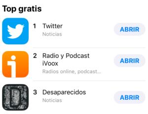 Desaparecidos, top 3 categoría Noticias en App Store