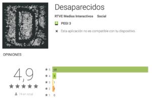 Pantallazo de la valoración de la app Desaparecidos en Android