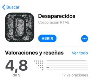 Pantallazo de la valoración de la app Desaparecidos en IOS