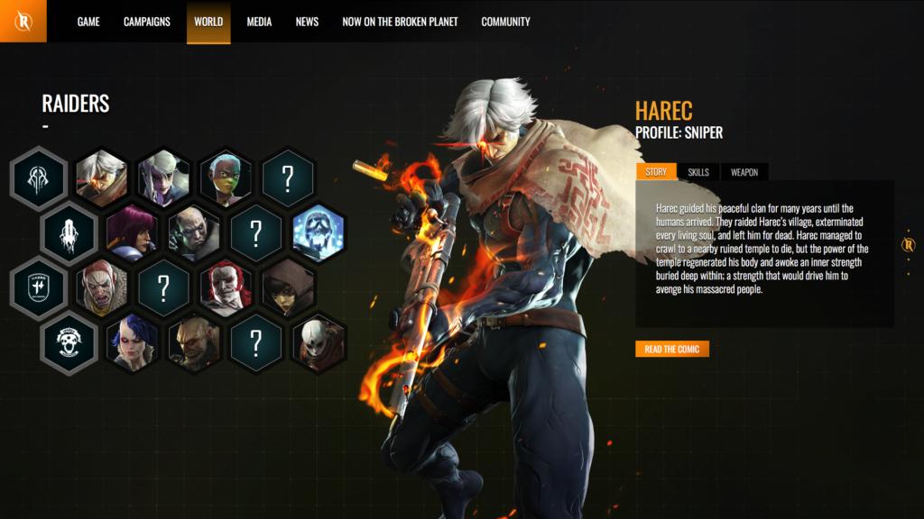 Captura de pantalla web Raiders of the Broken Planet