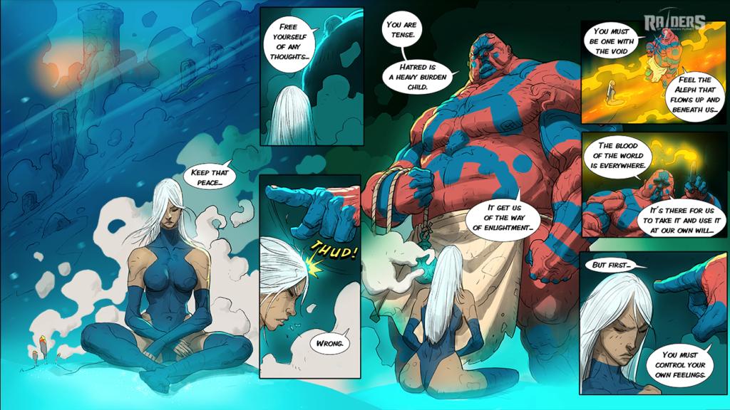 Pantallazo de uno de los cómics de la web Raiders of the Broken Planet