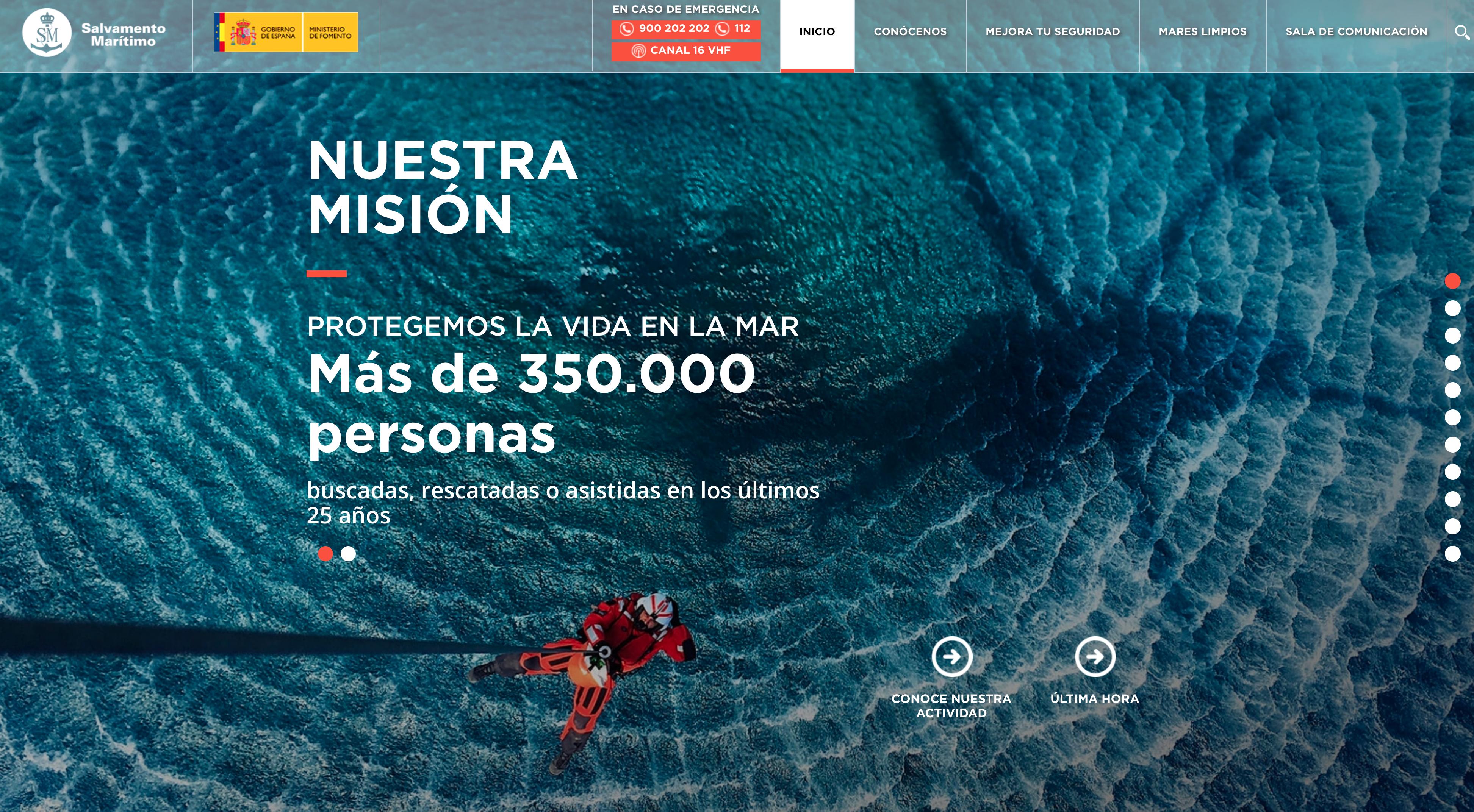 Captura de pantalla web Salvamento Marítimo