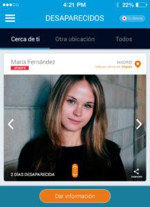 Pantalla de búsqueda en app Desaparecidos